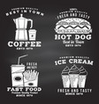 set fast food retro badge design on the vector image vector image