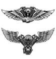 set of winged motorcycle engine design elements vector image