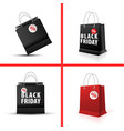 shopping paper red and black bag set empty vector image vector image