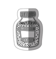 sticker silhouette bottle with salt and pepper vector image