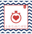 stopwatch with heart symbol - icon heart timer vector image vector image