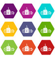 submarine transportation icons set 9 vector image vector image