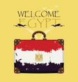 suitcase with the flag of egypt and planes vector image