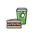 tea drink in paper cup with classical sandwich vector image vector image
