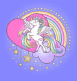 unicorn pony with feather wings hooves on a cloud vector image vector image
