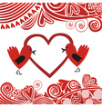 Valentines day card bird hearts vector image vector image