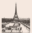 view on eiffel tower in city of paris vector image