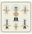 Vintage nautical lighthouse and ribbon labels set vector image vector image