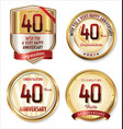 anniversary golden labels collection 40 years vector image vector image