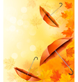 Autumn background with autumn leaves and orange vector image vector image