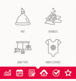 baby clothes bath bubbles and hat icons vector image vector image