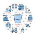 blue gardening - bucket vector image