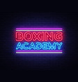 boxing academy neon signs boxing text vector image vector image