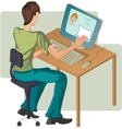Boy at computer vector image vector image