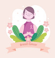 breast cancer portrait woman vector image vector image