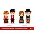 bulgaria hungary men and women in national dress vector image vector image