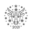 bull in line art style vector image vector image