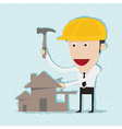 Business man and engineer build home vector image