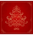 Calligraphy Christmas tree on red background vector image vector image