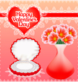 card with flowers and pearl necklace in a box vector image vector image