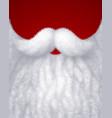 closeup white santa beard on red background vector image vector image