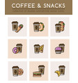 coffee cup and different fast food vector image