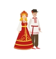 Couple In Russian National Clothes vector image vector image