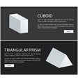 cuboid and triangular prism web banners set vector image