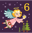 cute angel is flying with a star in his hands vector image vector image