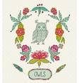 cute cartoon owls in frame of leaves vector image