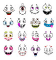 cute monster faces halloween emoticons and emojis vector image