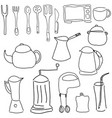 drawn picture with kitchen stuff vector image vector image