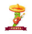 fiesta spanish or mexico holiday cactus mariachi vector image