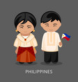 filipinos in national dress with a flag vector image vector image