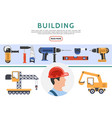 flat building elements collection vector image vector image