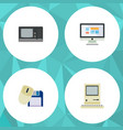 flat icon computer set of display vintage vector image