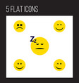 flat icon emoji set of joy smile asleep and vector image vector image