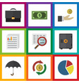 flat icon finance set of portfolio hand with coin vector image vector image