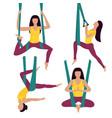 fly yoga woman performs asana in hammock vector image vector image