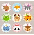 Funny stickers with animals to birthday vector image