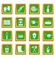 gardening icons set green vector image
