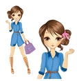 Girl In Jeens Dress With Bag vector image