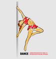 girl on pole outline pole dance vector image
