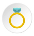 gold ring with diamond icon circle vector image vector image
