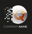golden letter q logo symbol in silver pixel circle vector image