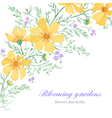 Greeting card with beautiful cute flowers on a whi vector image vector image