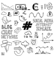 Hand draw social media sign and symbol doodles vector image vector image