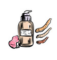 hand drawn tone cream make up object vector image vector image
