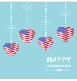 Hanging heart flags Star and strip Happy vector image vector image