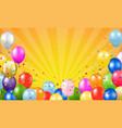 happy birthday card with balloons sunburst vector image vector image